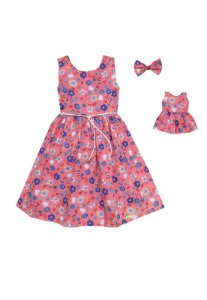 Kit Vestido Infantil e Boneca Petit Coral
