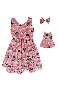 Kit Vestido Infantil e Boneca Petit Sushi