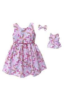 Kit Vestido Infantil e Boneca Petit Unicórnio Rosa