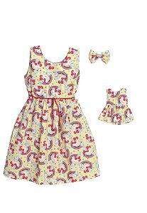 Kit Vestido Infantil e Boneca Petit Unicórnio Amarelo