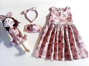 Kit Completo Vestido Infantil e Boneca Petit Rosê