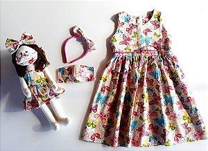 DUPLICADO - Kit Completo Vestido Infantil e Boneca Petit Rosê