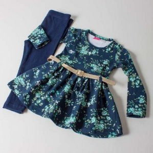 Conjunto Legging e Blusa Floral com cinto Marinho