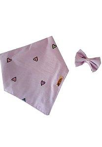 Bandana PET Amor Rosa com lacinho