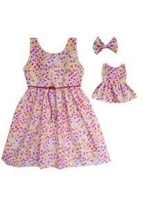 Kit Vestido Infantil e Boneca Petit Confetes