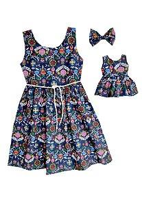 Kit Vestido Infantil e Boneca Petit Fantasy Marinho