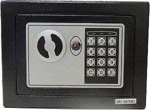 Cofre Eletrônico Digital em Aço com Teclado Senha + Chaves