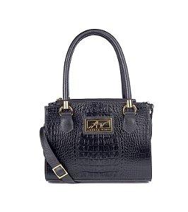 Mini Bag Emmy em couro legítimo preta