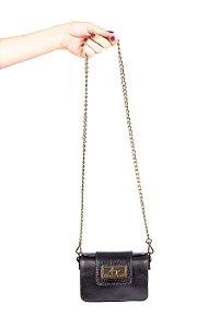 Mini bolsa de festa em couro legítimo preta + alça de metal