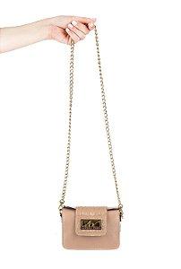 Mini bolsa de festa em couro legítimo nude + alça de metal