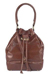 Bolsa saco em couro legítimo pinhão