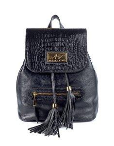 Mochila saco feminina em couro legítimo preta