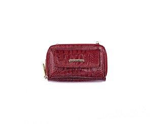 Carteira Mini Bag Mary com alça em couro legítimo vermelha