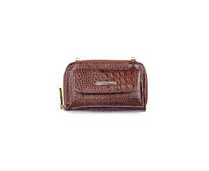 Carteira Mini Bag Mary com alça em couro legítimo whisky