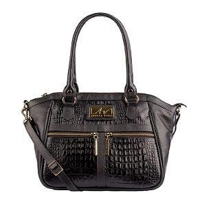Bolsa Lucy em couro legítimo preta