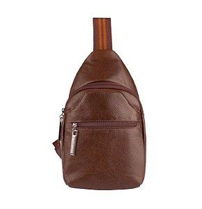Mini mochila transversal masculina Jeff em couro legítimo cedro