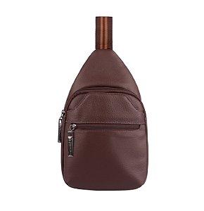 Mini mochila transversal masculina Jeff de couro pinhão
