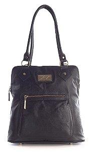 Bolsa mochila em couro legítimo preta