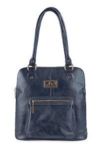 Bolsa mochila em couro legítimo azul