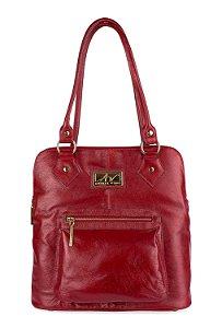 Bolsa mochila em couro legítimo vermelha