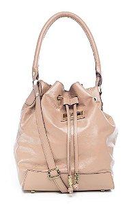 Bolsa saco em couro legítimo nude