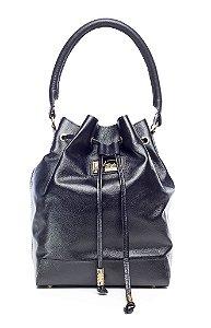 Bolsa saco em couro legítimo preta