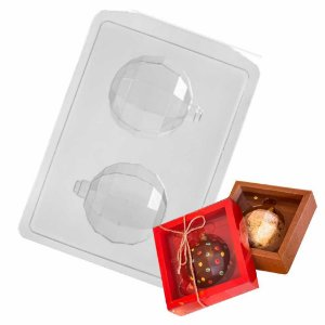 Forma Chocolate Bola Natal Diamantada M Ref FP150 - 2 formas