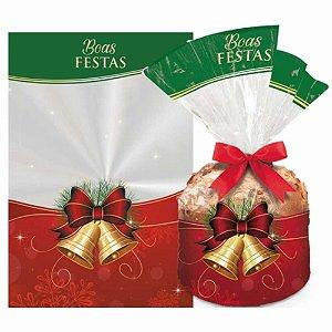 Saco para Panetone 500g Sinos de Natal + Laço - Pct 20 unid