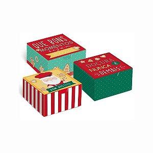 Caixa para 4 Doces e Brigadeiros Papai Noel Chef - 10 unid