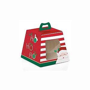 Caixa Mini Panetone com Visor Estampa Ho Ho Ho - 10 unid