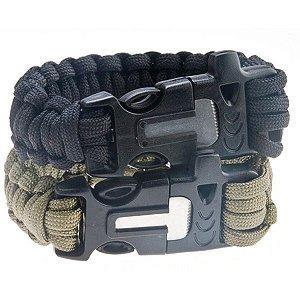 Bracelete/pulseira Paracord apito+pederneira