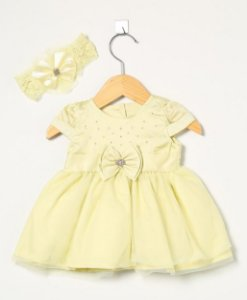 Vestido Bebe Menina com faixa Amarelo - Paraíso