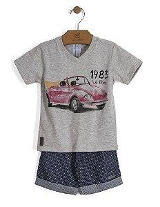 Conjunto Camiseta em Meia Malha e Bermuda em Tecido - Up Baby