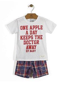 Conjunto Camiseta em Meia Malha e Bermuda Xadrez - Up Baby