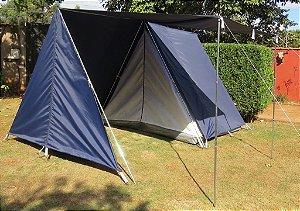 Barraca de Camping Modelo Canadense Residence Natura 6 Lugares Especial Com Avance/Extensão Acoplada (Varanda e Porta) Gripa Tents Padrão Azul Royal ou Azul Marinho
