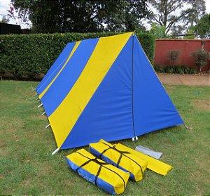 Barraca de Camping Modelo Canadense Natura 5 Lugares Com Avance/Extensão Fechado (Varanda e Porta) Gripa Tents Padrão Azul Royal & Amarela