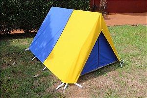 Barraca de Camping Modelo Canadense Natura 2 Lugares Gripa Tents Padrão Azul Royal & Amarela