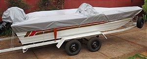 Capa/Lona de Cobertura Armazenamento Para Proteção e Transporte Para Lanchas de Alumínio Até 19 Pés Em Night & Day