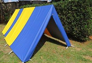 Barraca de Camping Modelo Canadense Natura 5 Lugares Com Avance/Extensão Aberto (Varanda) Gripa Tents Padrão Azul Royal & Amarela