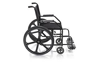Cadeira de rodas simples suporta até 90 KG - Dobrável - Pneu maciço