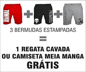 Super Combo 1 - 3 Bermudas de Moletom Premium - Grátis 1 Regata ou Camiseta