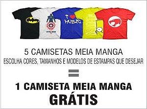 Super Combo 3 - 5 Camisetas meia manga - Grátis 1 camiseta meia manga