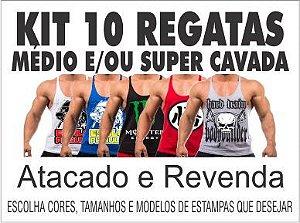 Kit 10 Camisetas Meia Manga + 5 Regatas Cavadas Masculina + 5 ... de274d4af86
