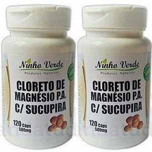 Kit 2 Cloreto de Magnésio com Sucupira 500 mg 120 caps - Ninho Verde