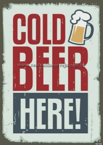 Placa Decorativa Vintage Cold Beer Here 20x30