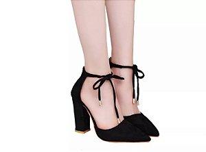 Sapato Scarpin Feminino Preto amaranto Salto