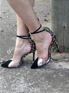 Sapato Scarpin Cristal Onça Vanessa