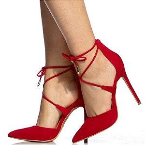 Sapato Scarpin Amario Vermelha Salto Agulha