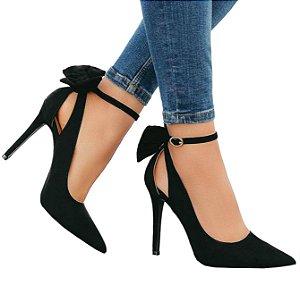 Sapato Scarpin Preto Laço Vanya