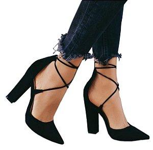 Sapato Scarpin Preto Amaranto Salto Grosso 9cm